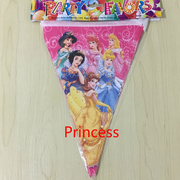 10pcs 1pack Princess theme Cartoon Flags chilren happy Birthday Party Items For Kids favors Event Party Supplies Decoration