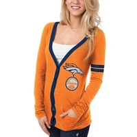 Denver Broncos Ladies Slub Button-Up Long Sleeve Cardigan - Orange