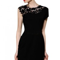Black Sleeveless Contrast Lace Shoulder Dress - OASAP.com