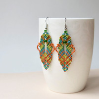 Bohemian leaves, macrame earrings, micro macrame jewelry, autumn fallen leaves, orange green teal gold, Cavandoli knotting, boho