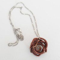 Once Upon A time Fairytale Sleeping Beauty Copper Rose Necklace