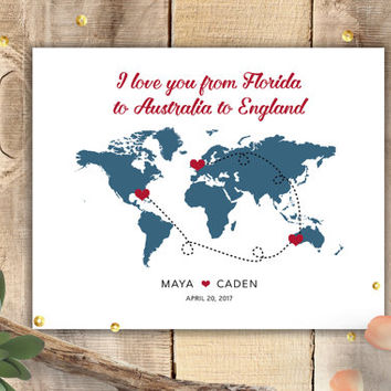 Personalized Sign - Wedding Poster - Anniversary Gift - World Map Travel Journey Poster - Choose Your Locations - Horizontal