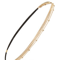 FOREVER 21 Layered Chain Headband Gold One