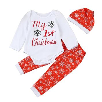 My First Christmas 3PC Holiday Outfit Red and White Snowflakes Matching Cap