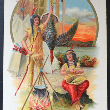 Thanksgiving Postcard, Samuel Schmucker, John Winsch, Indian Maiden, Winsch Schmucker Thanksgiving, Antique Postcard, Thanksgiving Ephemera