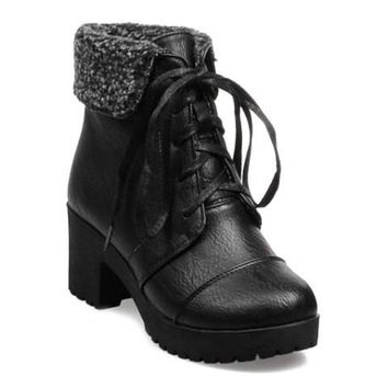 PU Leather Flock and Lace Up Boots