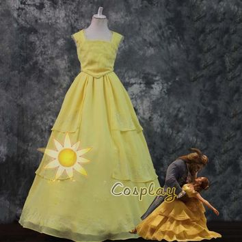 Top Quality  Beauty And The Beast Belle Princess Yellow  Cosplay Costume Dress For Adults Women Girl Halloween Party Custom Made
