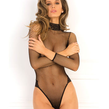 Rene Rofe High Demand Fishnet Bodysuit Black S-m