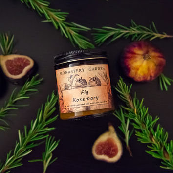 4 oz FIG ROSEMARY Scented  candle, natural candle, soy candles, vegan,