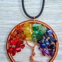 Gay Pride / Rainbow Copper Wire Wrapped Tree of Life pendant .