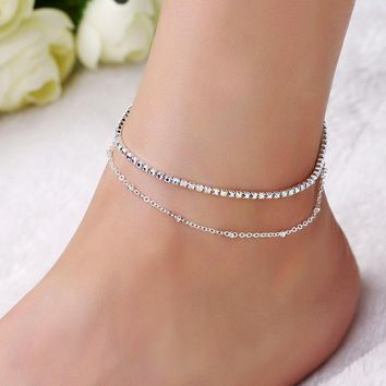 Double Cute Women Ankle Bracelet Ladies Anklet Ankle Chain Leg Jewelry Gold Silver Color