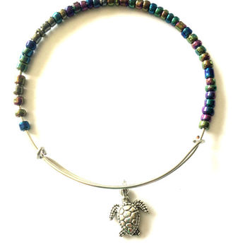 Turtle Charm Bracelet - Alex and Ani Inspired - Adjustable Bangle - Silver Jewelry - Beaded Bangle - Stacking Bangles