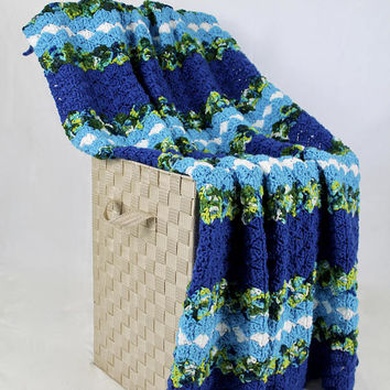 Green and Blue Blanket - Crochet Stain Glass Pattern Afghan - Royal Blue Neon Blue White and Multi - Crib Blanket - Throw