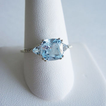 10k Estate Vintage Natural Blue Topaz Diamond Gold Art Deco Edwardian Georgian Antique style Cushion Princess Engagement Something Old Ring