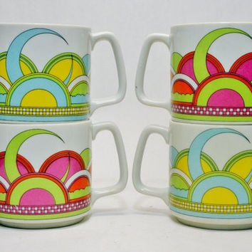 4 Modern Mugs in a Frank Stella Style Graphic All are Porcelain with No Damage Figure Late 1970s Very Memorable Look to These Coffee or Tea