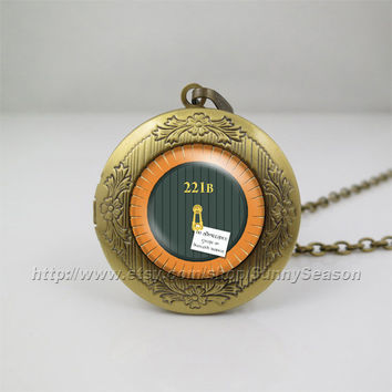 sherlock holmes watson 221b Necklace,Lord of rings Hobbit door style 221b bbc Pendant Necklace ,Photo locket