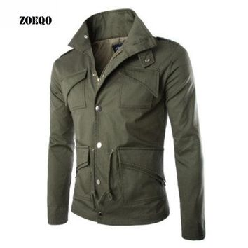 ZOEQO NEW high-quality  military jacket British style temperament Slim large size mens jackets army Multi-pocket cotton jacket