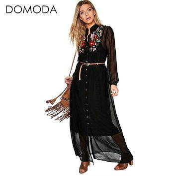 Women Clothing Floral Print Embroidery Bohemian Dresses Loose Casual Elegant Maxi Dress