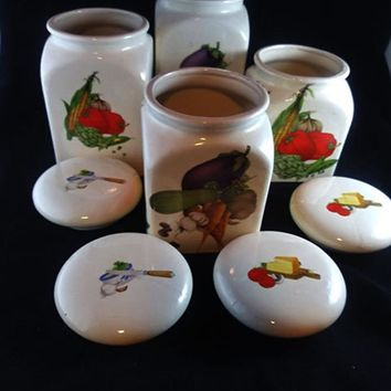 Set of 4 Hand Made Canisters