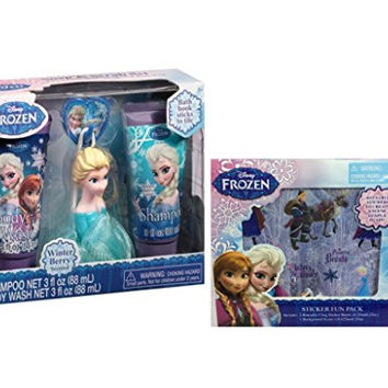 Disney Frozen Princess Elsa Winter Berry Scented Soap & Scrub Bath Gift Set, 3 pc Plus Bonus Disney Frozen Sticker Fun Pack!
