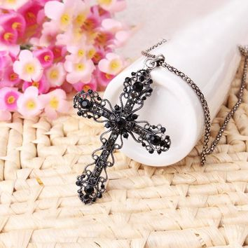 Cross Pendant Necklace Goth Jewelry Long Necklaces