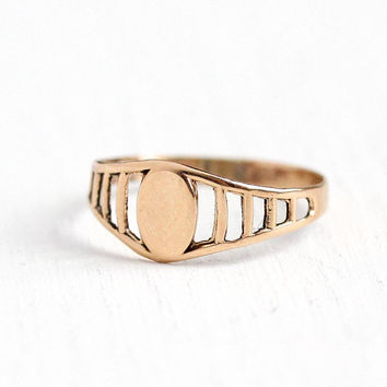 Antique Signet Ring - Vintage Edwardian 10k Rose Gold Band - Size 1 Blank Monogram Baby Midi Children's Fine Open Metal Jewelry