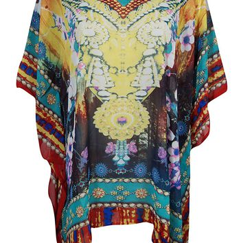 Mogul Womens Caftan Dress Throwing Shades Digital Print V-Neck Beach Cover Up