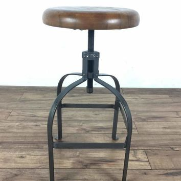 Contemporary Metal and Wood Bar Stool