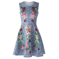 Blue Round Collar Sleeveless Floral Pattern Dress
