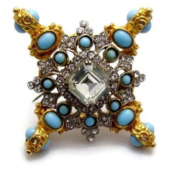 Kenneth J Lane Rhinestone Brooch, Early Mark, KJL Brooch, Maltese Cross, Faux Turquoise, Vintage Jewelry, Brooch, Pendant, Rhinestone Pin