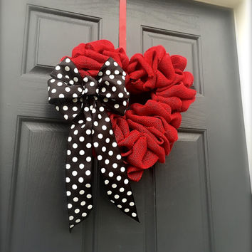 Red Heart Door Wreath Valentines Day Decor Love Wreath Red Burlap Wreaths Polka Dots