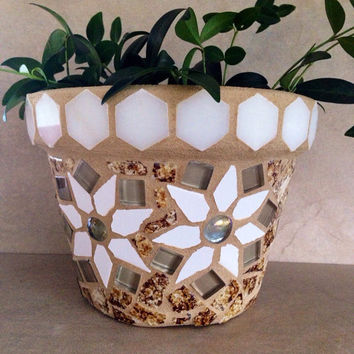 Mosaic flower pot, terracotta planter, garden art, mosiac tile art, outdoor planter, kitchen planter, handmade garden pot, patio container
