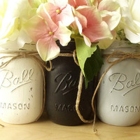 Black, White and Gray Painted Mason Jars, Three - Hand Painted Mason Jars, Rustic - Style Decoration