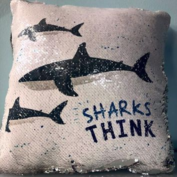 SHARK Mermaid Pillow w/ Silver & White Sequins (2019 edition)