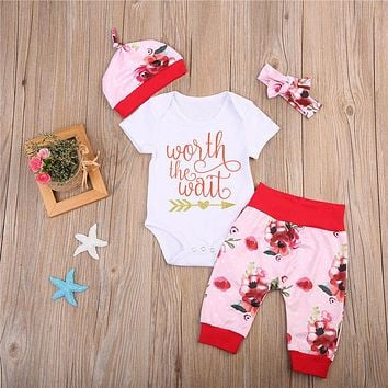Newborn Baby Girls Clothes set 4Pcs  Autumn Style Tops Romper Pants Floral Coming Home Outfits
