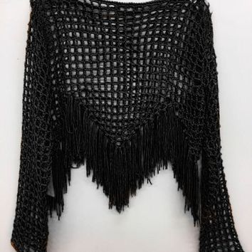 Open Crochet With Fringe - Black