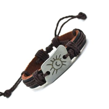 Braid Vintage Leather Moon & Sun Charm Bracelet For Woman