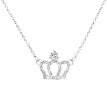 925 Sterling Silver Clear CZ Princess Queen Crown Necklace Girls Kids 16""