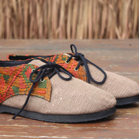 Vegan Oxford Men's Shoes In Cocoa Brown Natural Hemp & Laos Tribal Embroidery