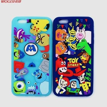New 3D Cartoon Toy Story Buzz Woody Monster University Sulley Mike Case Soft Silicon Cover for iPhone 6 6S 7 7S & Plus