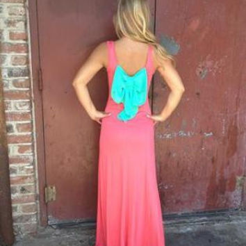 Too Much Fun Bow Back Contrast Maxi Dress - Coral/Mint