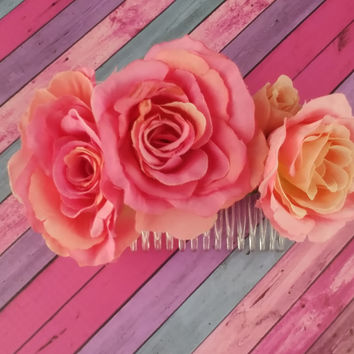 Flower Hair Comb - Pink Rose