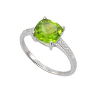 Sterling Silver .01ct Genuine Diamond Ring with Square 8mm Peridot