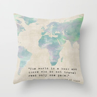 The World is a Book Throw Pillow by Mockingbird Avenue