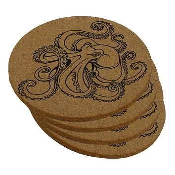 Octopus Tattoo Round Cork Coaster (Set of 4)