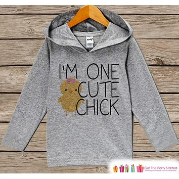 Novelty Girls Easter Outfit - I'm One Cute Chick Hoodie - Easter Spring Pullover - Baby Girls Easter Outfit - Humorous Grey Toddler Hoodie