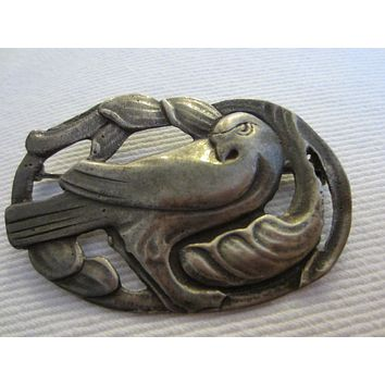 George Jensen Style Victorian Sterling Dove Brooch