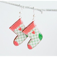 Christmas stocking earrings - Winter jewelry