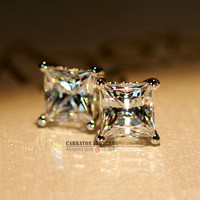 KLTE003 Trendy Men Women Square Crystal Genuine 925 Sterling Silver 5mm 6mm 7mm 8mm 4 Claw Princess Cut CZ Diamond Stud Earring