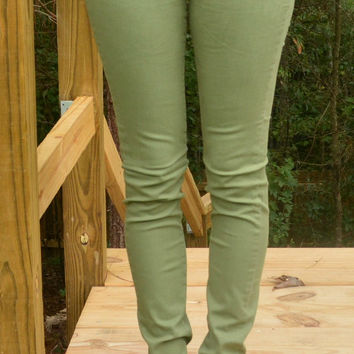 Colored Skinnies - Olive